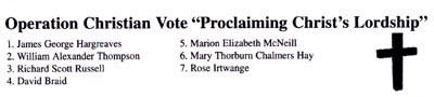 "Operation Christian Vote ""Proclaiming Christ's Leadership"""